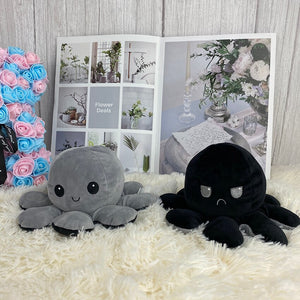 grey and black cute octopus plush toy reversible into two different expression