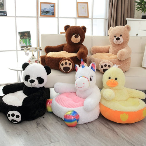 cute brown bear chair, cute khaki bear cushion, cute panda couch, cute unicorn sofa, cute duck seat