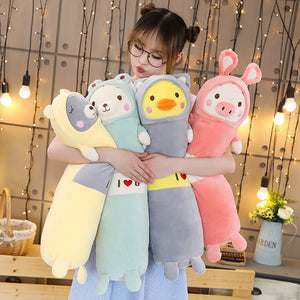 long pillow bolster plushies with grey bear, white bear, yellow duck, and pink pig