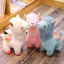 Load image into Gallery viewer, white, pink, and blue alpacas llamas plushies