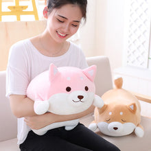Load image into Gallery viewer, girl hugging fat squishy pink open eyes shiba inu plushie
