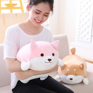girl hugging fat squishy pink open eyes shiba inu plushie