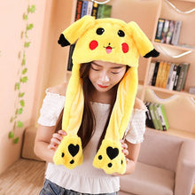 Load image into Gallery viewer, Pinch the paws and the ears will move! Get this cute pikachu plushie hats to enlighten your day.