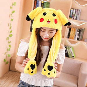 Pinch the paws and the ears will move! Get this cute pikachu plushie hats to enlighten your day.