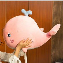 Load image into Gallery viewer, cute smiling smiley pink blue whale with tiny water sprout stuffed animal plush toy