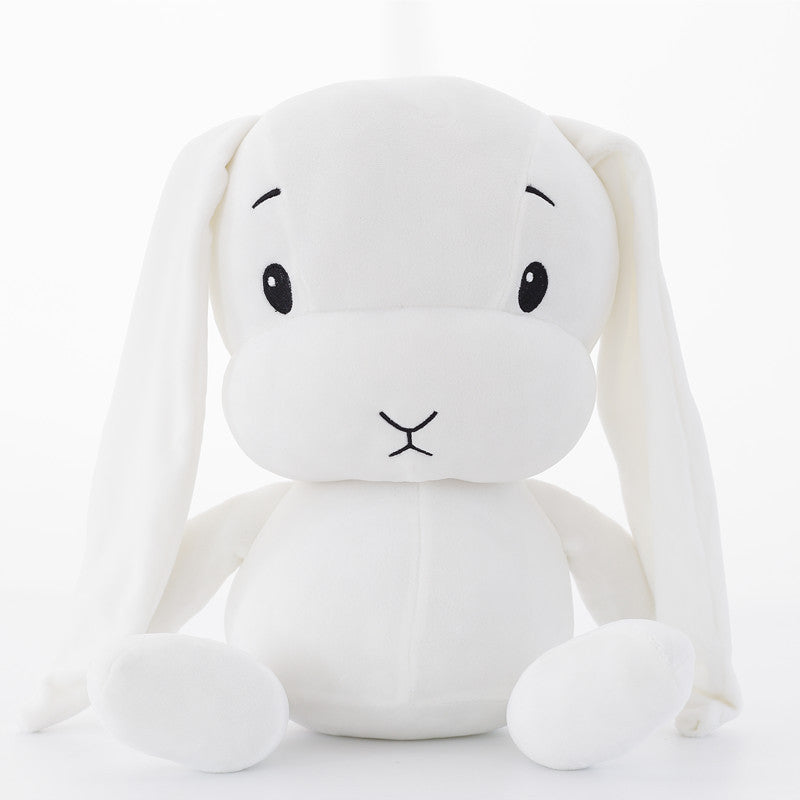 cute white rabbit plush toy in worried expression