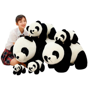 This cute kneeling panda plushie family are safe for babies to use.