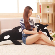 Load image into Gallery viewer, black killer whale orca plush toy 120cm stuffed animal