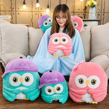 Load image into Gallery viewer, Get this cute owl plushie for your friends/children to wish them continued success.  Different sizes of the owl plushie comes with different features. The largest owl plushie (height 50cm) comes with a blanket large enough to cover anyone not taller than 170cm :D