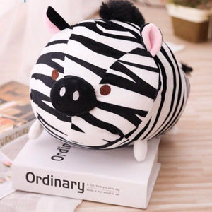 cute zebra plush toy with pig like nose and black hair for kids and girlfriend