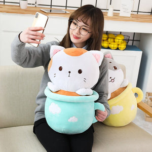 cute blue cats in cups plushie with blanket and cute yellow cats in cups plushie