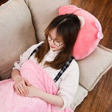 Load image into Gallery viewer, Removing the blanket from the cute owl plushie, you can now use it's body as a pillow!