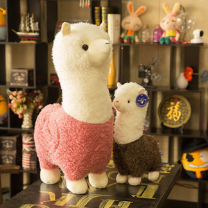 cute llama alpaca sheep stuffed animals plush toys for kids pink red purple green brown white gift valentine love