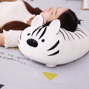 white tiger plushie great to be a cute pillow or head rest for sofa
