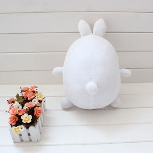 back view of cute molang rabbit round plushie with cute little rabbit ears too