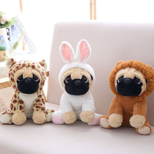 cute pug in leopard plushie, cute pug in rabbit plushie, cute pug in lion plushie
