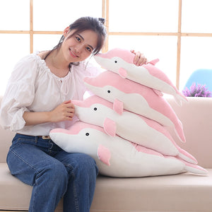 giant dolphin 80cm cute pink blue grey plushie plush toy high quality stuffed animal soft fluffy couple toy