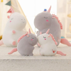 cute pink and grey plushie available in two sizes perfect home decoration