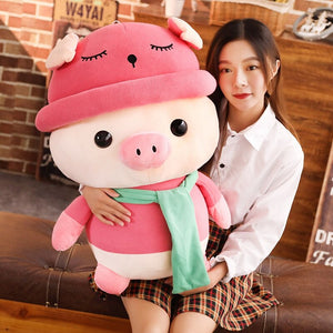 girl hugging big pink cute pig plushie