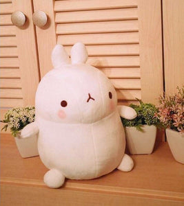 cute molang rabbit plushie white and round available in three sizes