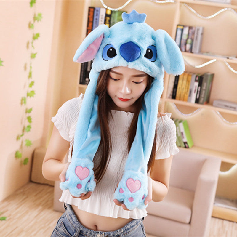 Pinch the paws and the ears will move! Get this cute stitch plushie hats to enlighten your day.