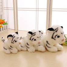 Load image into Gallery viewer, white tiger cub plushie with three different sizes perfect for present