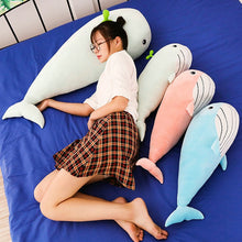 Load image into Gallery viewer, very soft cute plush toy smiley with teeth huge whale friends pillow stuffed animal green blue pink