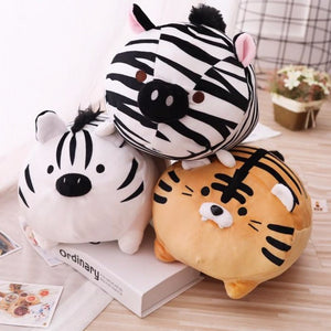 white tiger brown tiger zebra plush toy plushie ready for rescue