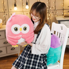 Load image into Gallery viewer, This pink owl plushie comes with blanket to keep you warm at night.