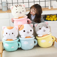 Load image into Gallery viewer, cute cats in cups plushie with blanket