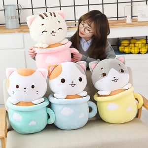 cute cats in cups plushie with blanket