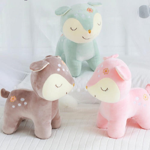 cute green deer plushie, cute pink deer plushie, cute brown deer plushie