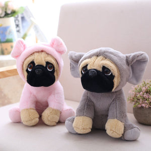 cute pug in pig plushie and cute pug in elephant plushie