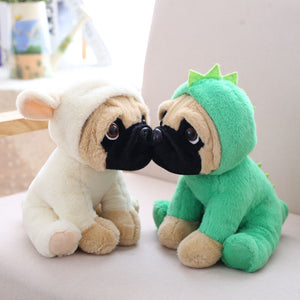 cute pug dog in rabbit plushie and cute pug dog in dinosaur plushie