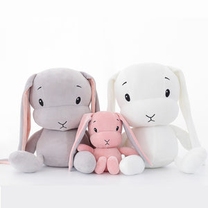 cute rabbit plushies with three colours pink, grey and white