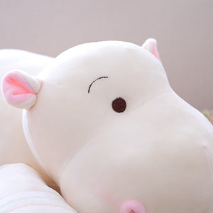white enlarged plush hippo with down cotton