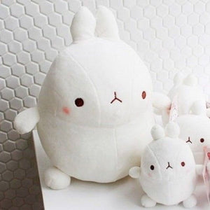cute Molang rabbit plushie in white and its original round shape