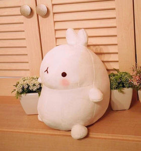 side view of cute molang rabbit plushie round and perfect for gift