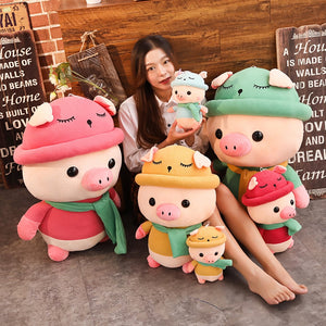 family of cute pig plushies