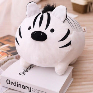 cute white tiger plushie with black hair and piggy nose