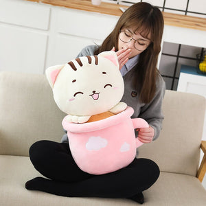 cute pink cats in cups plushie with blanket
