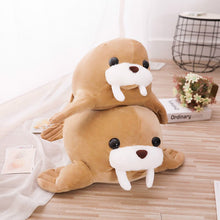 Load image into Gallery viewer, Baby walrus plushie loves mama walrus plushie