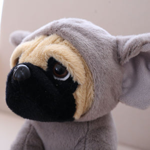 cute pug dog in elephant plushie