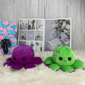 cute purple and green octopus plush toy reversible into smiley and angry face