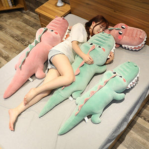 pink and green alligator and crocodile plushie