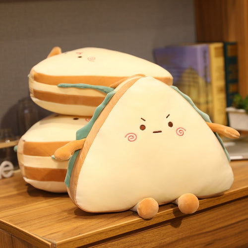 cute sandwich stuffed toy with cute faces