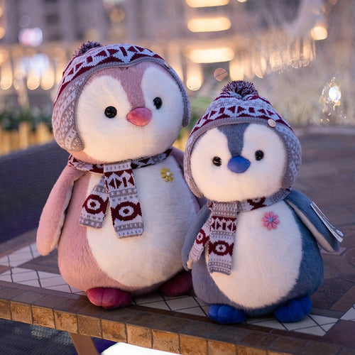 cute penguin in winter plush toy with bennie and scarf