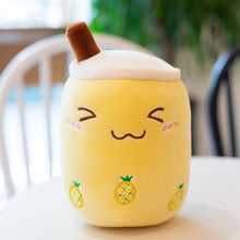 Load image into Gallery viewer, cute smiley pineapple yellow bubble tea plushie perfect present for your boba loving loved ones