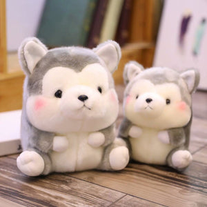 big round and fat husky plushie and small round and fat husky plushie
