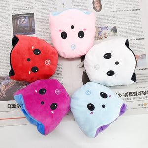 cute reversible ghost plush toy available in pink, red, blue, white, and purple colour